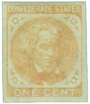 1862 1c Confederate States - John C. Calhoun - orange