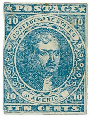 1862 10c Confederate States - Thomas Jefferson - blue, soft paper (Paterson & Co)