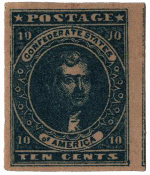 1861-62 10c Confederate States - Jefferson Davis - dark blue, soft paper (Hoyer & Ludwig)