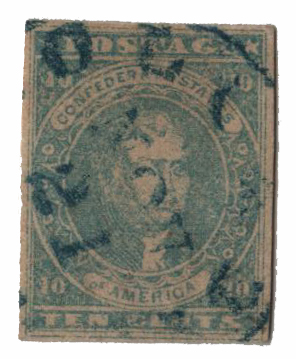1861-62 10c Confederate States - Thomas Jefferson - lt. milky blue, soft paper, Stone Y (Paterson & Co)