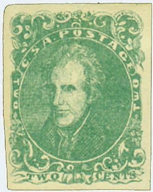 1861 2c Confederate States - Andrew Jackson - green, soft paper (Hoyer & Ludwig)