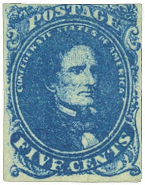 1862 5c Confederate States - Jefferson Davis - blue, soft paper, Stone 3
