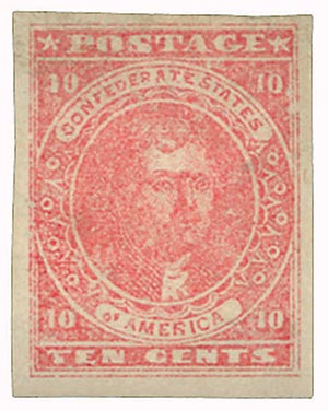 1862 10c Confederate States - Thomas Jefferson - rose, soft paper (Hoyer & Ludwig)
