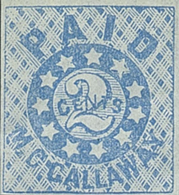1861 2c PM Provisional of Memphis, blue