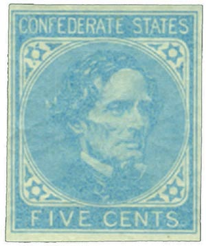 1862 5c Confederate States - Jefferson Davis - blue, thin-to-thick paper (De La Rue & Co)