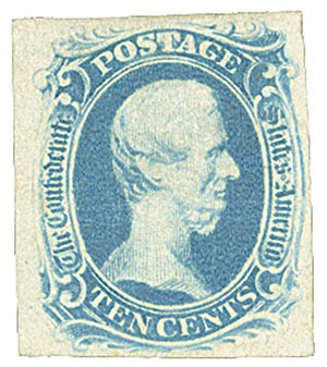 1863 10c Confederate States - Jefferson Davis - blue, soft paper, engraved (Archer & Daly)