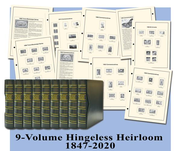 1847-2020 Volumes I-IX, Mystic's Hingeless American Heirloom Albums with Slipcases