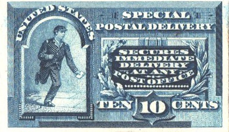 1888 10c blue, on card
