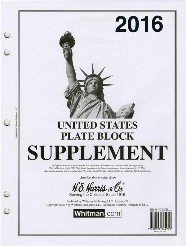 2016 HE Harris US Plate Block Supplement