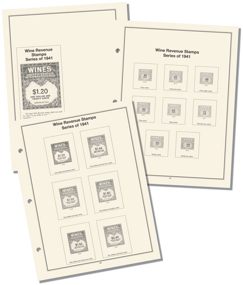 1942-54 Mystic Wine Revenue Stamp Album Pages