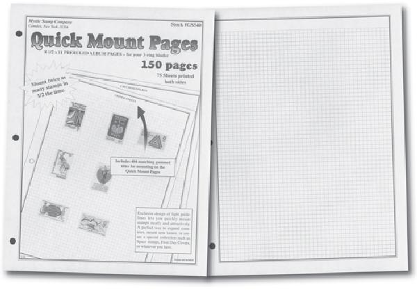 Mystic Quick Mount Pages, Package of 75 3-Ring Black 2-Sided Grid Style