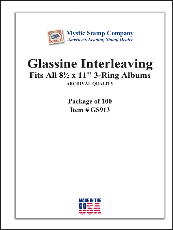 Mystic's Glassine Interleaving, 8 1/2 x 11, 3- Ring, Package of 100