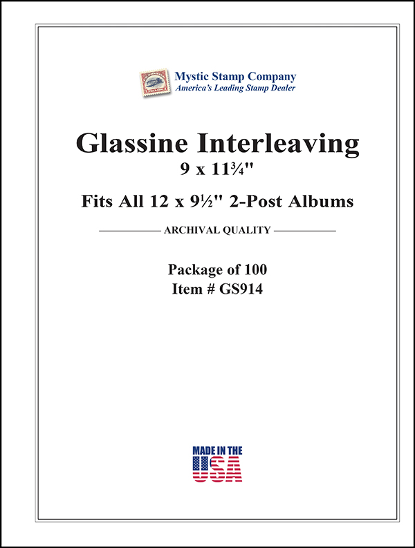 Mystic's Glassine Interleaving, 9 x 11 3/4, 2-Post, Package of 100