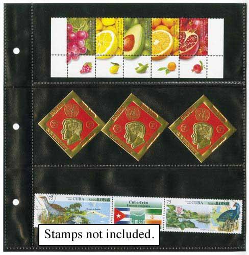 3-Pocket Pages, Black, Set of 25