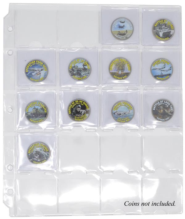 20-Pocket Coin Page, Clear, Package of 10