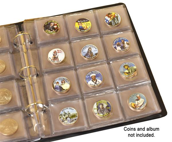 12-Pocket Coin Page, Clear Package of 25