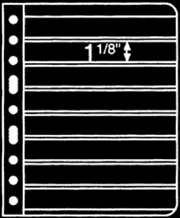Prinz 8-Strip Black 1-Sided Stock Page, Package of 10