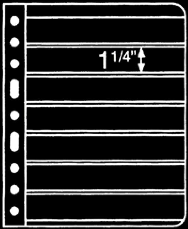 Prinz 7-Strip Black 2-Sided Stock Page, Package of 10