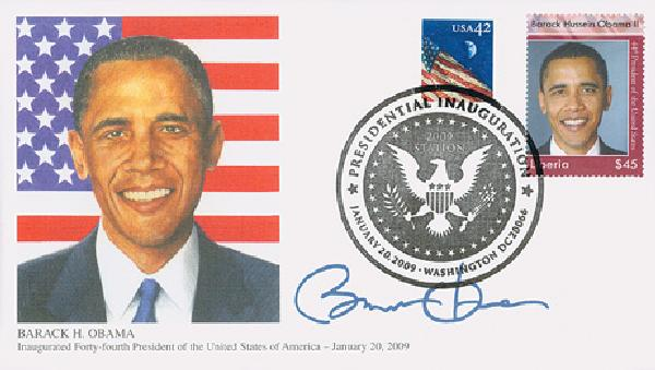 2009 Inauguration Cover - President Barack Obama (with Liberia stamp)