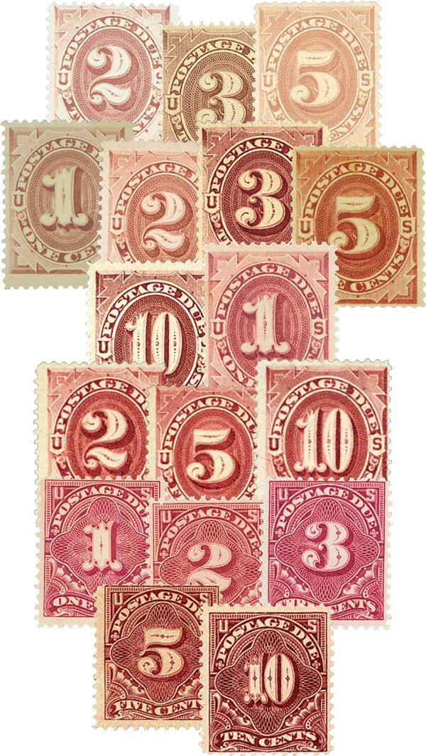 1879-96 Postage Due, set of 16