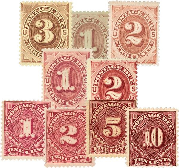 1879-96 Postage Due, Set of 9