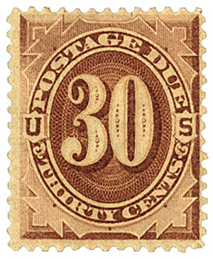 1879 30c Postage Due, brown