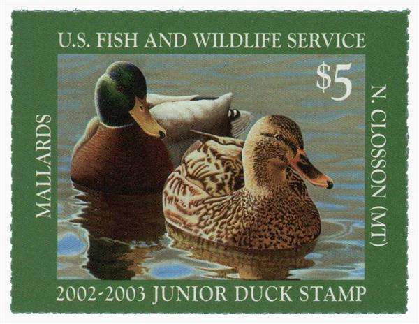 2002 $5 Mallards Junior Duck Stamp