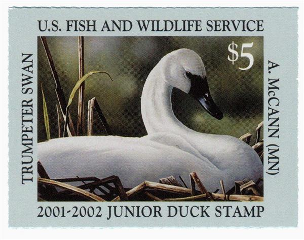 2001 $5 Trumpeter Swam Junior Duck Stamp