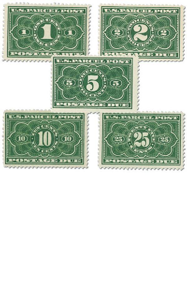 1913 1c-25c Parcel Post Due Stamps (5)