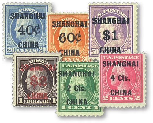 1919-22 Shanghai Overprints, set of 6