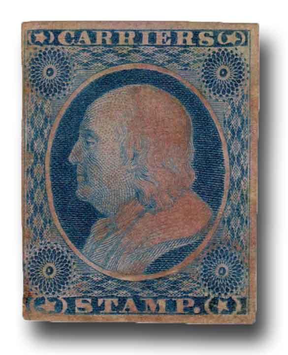 1851 1c Carrier Stamp - Benjamin Franklin, dull blue, imperforate