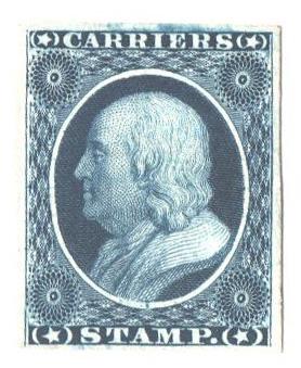 1851 1c blue, Franklin, on card
