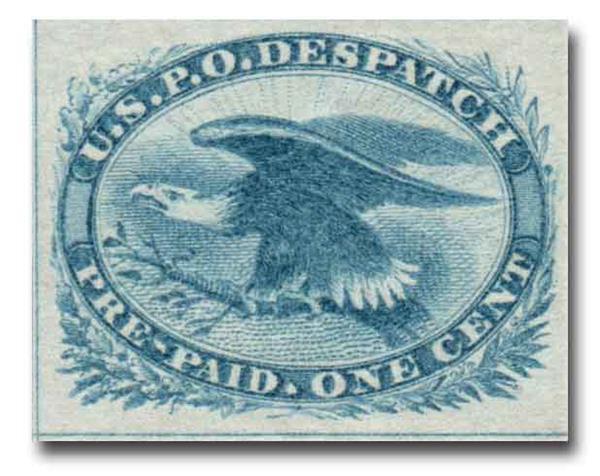 1851 1c bl, Eagle, imperf