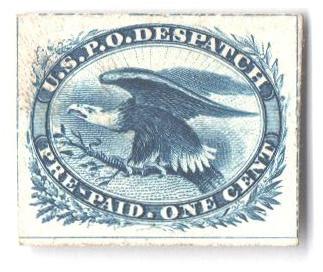 1851 1c blue, eagle