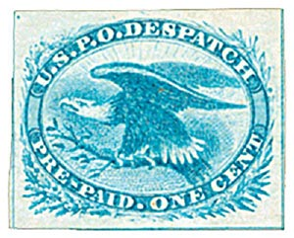 1875 1c bl, Eagle reprint, imperf