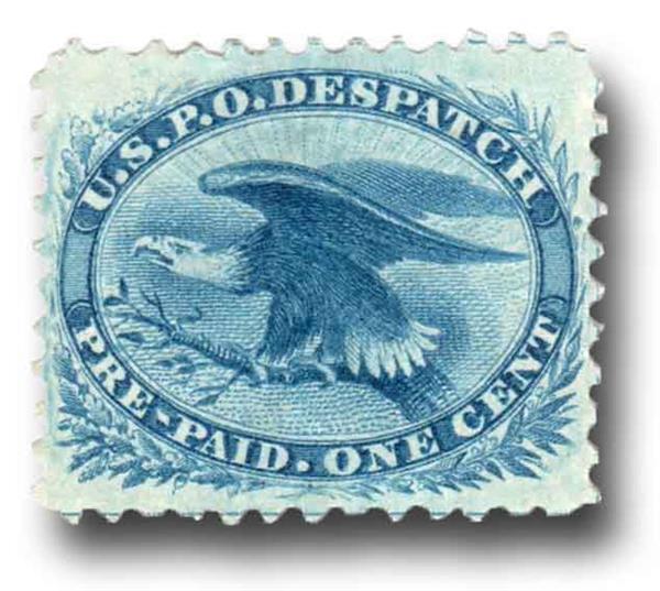 1875 1c bl, Eagle reprint, perf 12