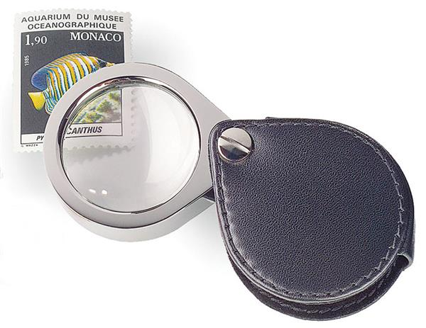 5X Pocket Magnifier, Pocket Style with Black Leather Slide Pouch