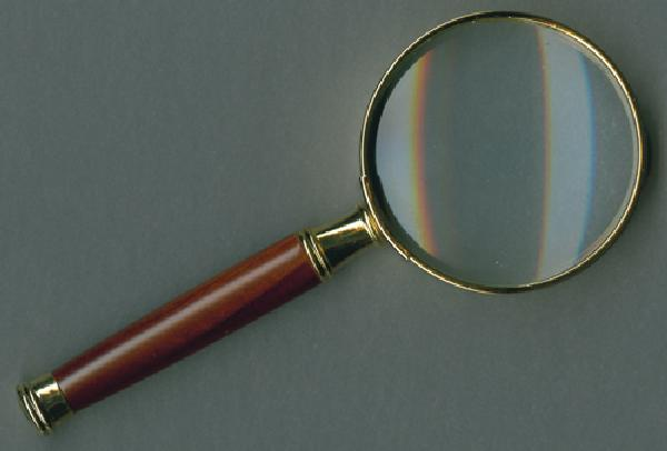 Lighthouse 3X Power Magnifier, 2' Gold Plated with Wooden Handle