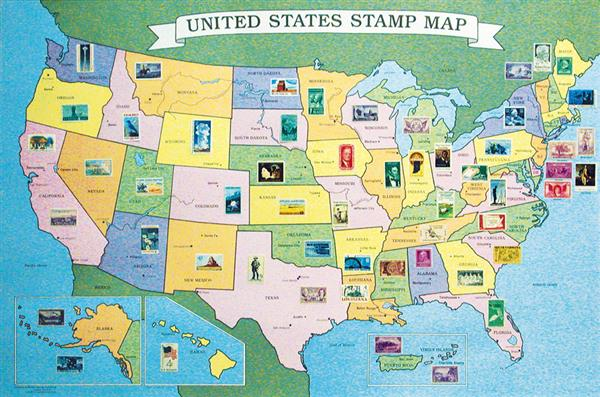 55 US Stamps & Unfolded Stamp Map