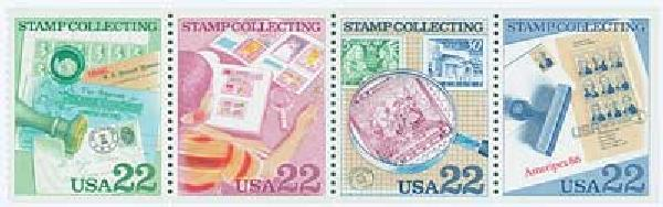 1986 22c Stamp Collecting #2210b Error Mint Pane of 4 with Album Page and Mount