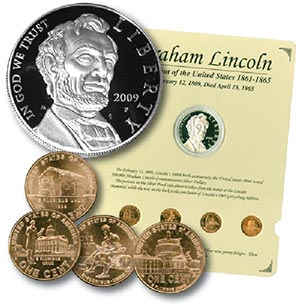 Lincoln Proof Coin, Pennies (4), Binder and Coin Panel