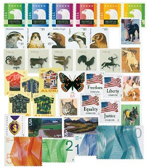 2012 U.S. Regular Issues + Airmails and Duck Stamps; 72 Mint Stamps