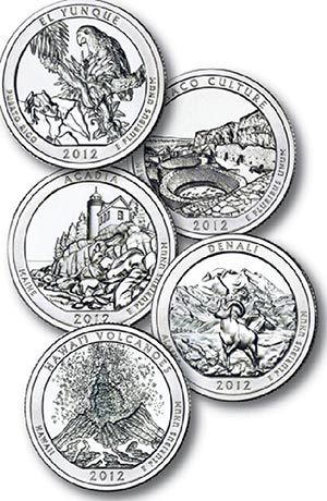 2012 U.S. National Park Quarters 5v