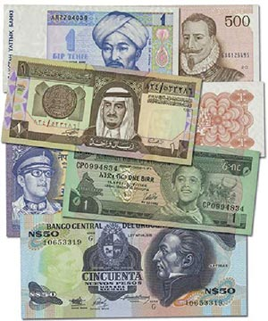 25 different World Banknotes