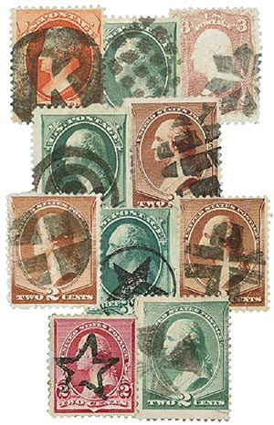 Early US Stamps w/ Cork Fancy Can., 10v