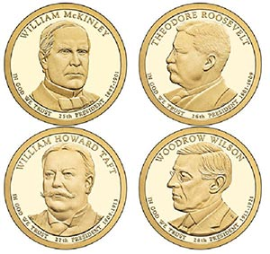 2013 US Presidents Coins, 4v D Mint