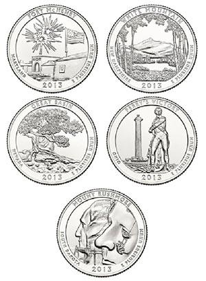 2013 Natl. Parks Qtrs. 5v D Mint