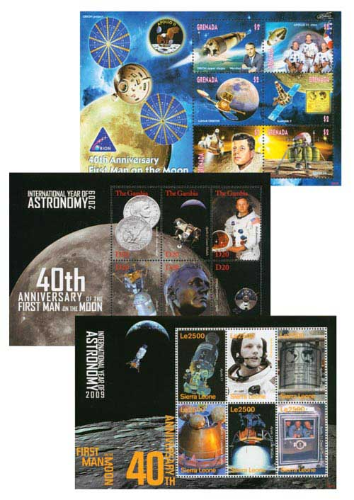2009 40th Anniversay First Man on the Moon, Set of 3 sheets