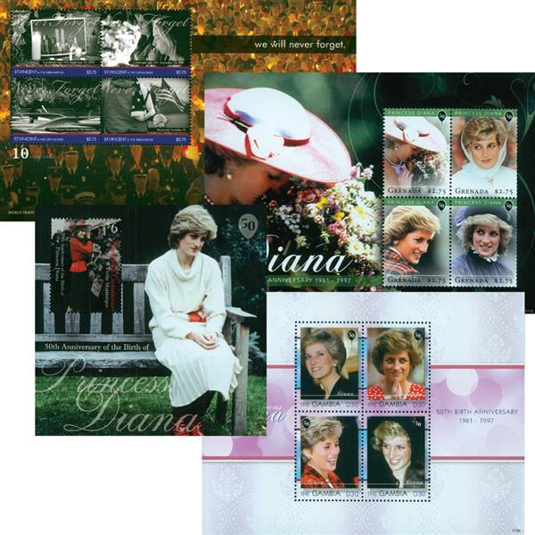 Princess Diana 50th Birthday Collection, Set of 13 Mint Stamps