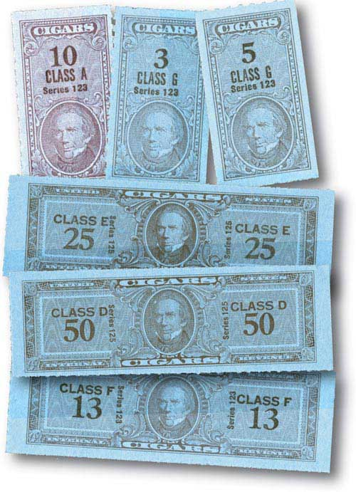 1953-55 Taxpaid Cigar Stamps 100v Mint